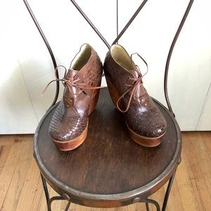 Bed Stu Brown Leather High Wedged shoes - Sz 6